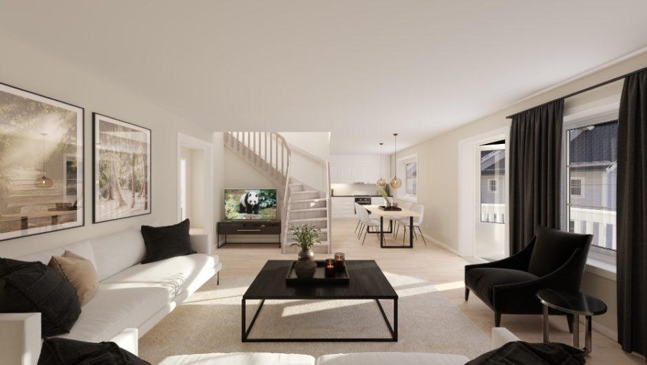 Illustrasjon av stue i en Trysilhus-leilighet