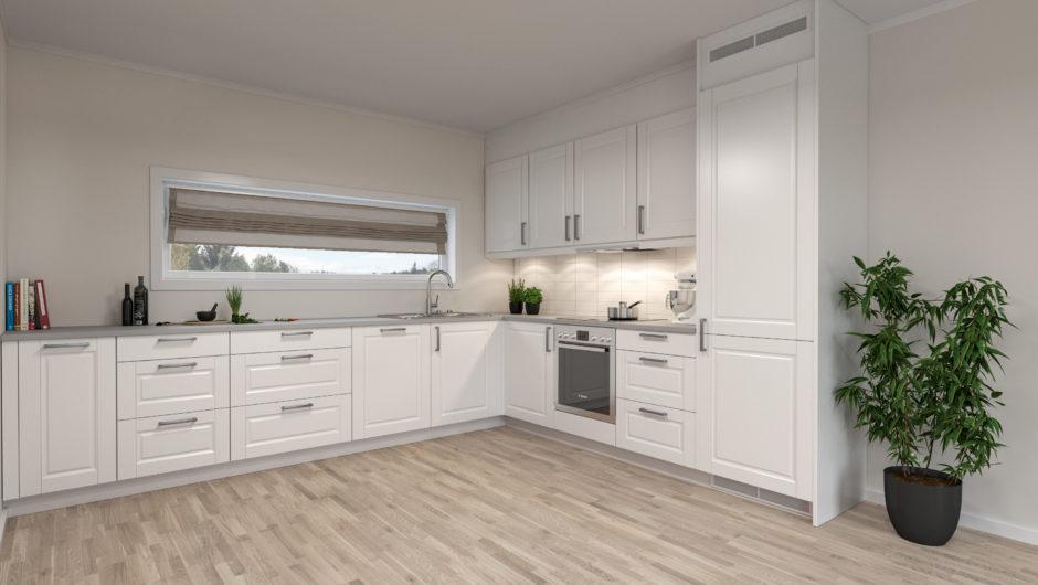 Standard kjøkken i leilighetene på 92 m2